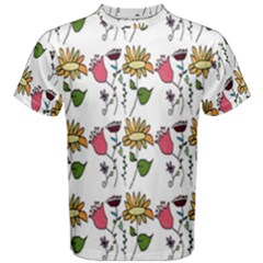 Handmade Pattern With Crazy Flowers Men s Cotton Tee by Simbadda