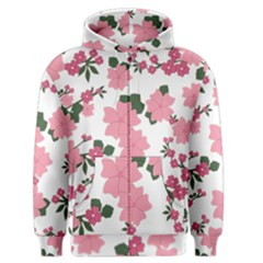 Vintage Floral Wallpaper Background In Shades Of Pink Men s Zipper Hoodie by Simbadda