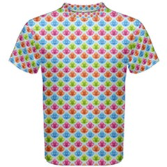 Colorful Floral Seamless Red Blue Green Pink Men s Cotton Tee by Alisyart