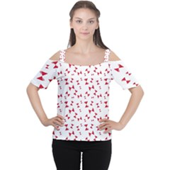 Hour Glass Pattern Red White Triangle Women s Cutout Shoulder Tee by Alisyart