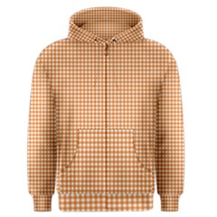 Orange Tablecloth Plaid Line Men s Zipper Hoodie by Alisyart