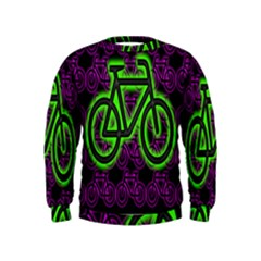 Bike Graphic Neon Colors Pink Purple Green Bicycle Light Kids  Sweatshirt by Alisyart