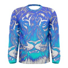 Background Fabric With Tiger Head Pattern Men s Long Sleeve Tee by Amaryn4rt