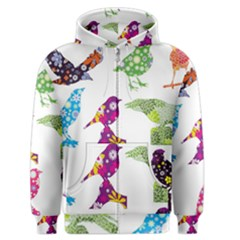 Birds Colorful Floral Funky Men s Zipper Hoodie by Amaryn4rt