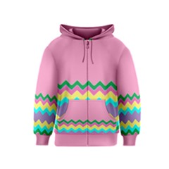Easter Chevron Pattern Stripes Kids  Zipper Hoodie by Amaryn4rt