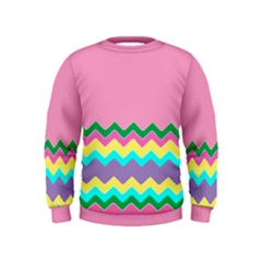 Easter Chevron Pattern Stripes Kids  Sweatshirt by Amaryn4rt