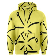Doodle Shapes Large Line Circle Black Yellow Men s Pullover Hoodie by Alisyart