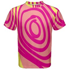 Doodle Shapes Large Line Circle Pink Red Yellow Men s Cotton Tee
