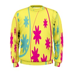 Easter Egg Shapes Large Wave Green Pink Blue Yellow Black Floral Star Men s Sweatshirt by Alisyart