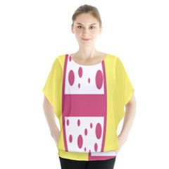 Easter Egg Shapes Large Wave Pink Yellow Circle Dalmation Blouse by Alisyart