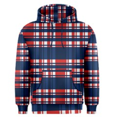 Plaid Red White Blue Men s Pullover Hoodie by Alisyart