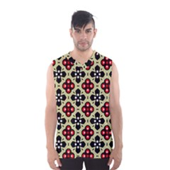 Seamless Floral Flower Star Red Black Grey Men s Basketball Tank Top
