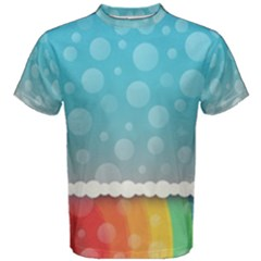 Rainbow Background Border Colorful Men s Cotton Tee by Amaryn4rt