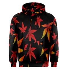 Colorful Autumn Leaves On Black Background Men s Pullover Hoodie by Amaryn4rt