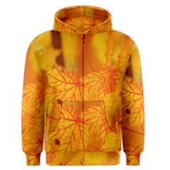 Bright Yellow Autumn Leaves Men s Zipper Hoodie by Amaryn4rt