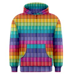Pattern Grid Squares Texture Men s Zipper Hoodie by Amaryn4rt