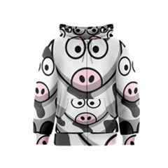 Animals Cow  Face Cute Kids  Zipper Hoodie by Alisyart