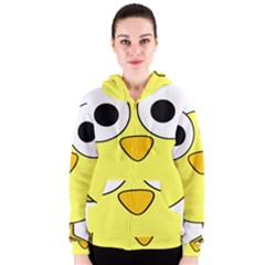 Bird Big Eyes Yellow Green Women s Zipper Hoodie by Alisyart