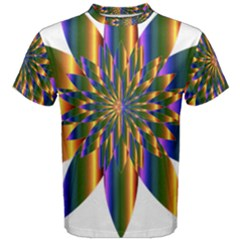 Chromatic Flower Gold Rainbow Star Light Men s Cotton Tee by Alisyart