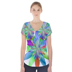 Chromatic Flower Variation Star Rainbow Short Sleeve Front Detail Top by Alisyart