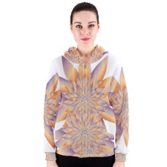Chromatic Flower Gold Star Floral Women s Zipper Hoodie by Alisyart