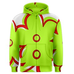 Flower Floral Red Green Men s Zipper Hoodie by Alisyart
