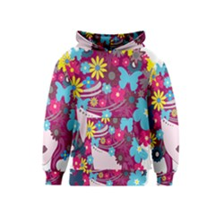 Floral Butterfly Hair Woman Kids  Pullover Hoodie by Alisyart