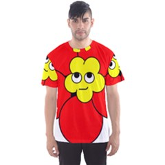 Poppy Smirk Face Flower Red Yellow Men s Sport Mesh Tee by Alisyart