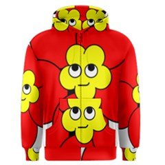 Poppy Smirk Face Flower Red Yellow Men s Zipper Hoodie by Alisyart