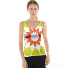 Tikiwiki Abstract Element Flower Star Red Green Tank Top