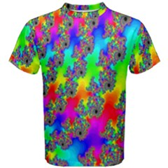 Digital Rainbow Fractal Men s Cotton Tee by Simbadda