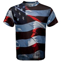 Grunge American Flag Background Men s Cotton Tee by Simbadda