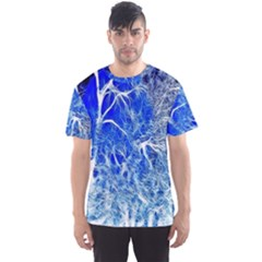 Winter Blue Moon Fractal Forest Background Men s Sport Mesh Tee by Simbadda