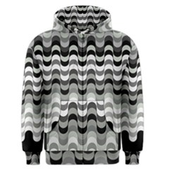 Chevron Wave Triangle Waves Grey Black Men s Zipper Hoodie by Alisyart