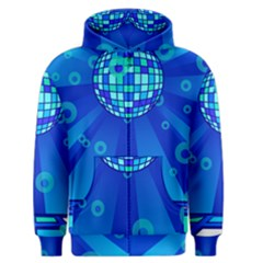 Disco Ball Retina Blue Circle Light Men s Zipper Hoodie by Alisyart