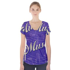 Music Flyer Purple Note Blue Tone Short Sleeve Front Detail Top by Alisyart