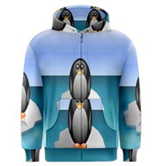 Penguin Ice Floe Minimalism Antarctic Sea Men s Zipper Hoodie by Alisyart