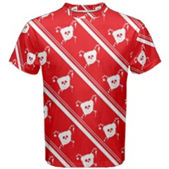 Panda Bear Face Line Red White Men s Cotton Tee