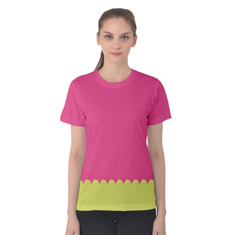 Pink Yellow Scallop Wallpaper Wave Women s Cotton Tee by Alisyart