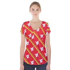 Panda Bear Face Line Red Yellow Short Sleeve Front Detail Top by Alisyart