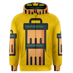 Trash Bin Icon Yellow Men s Zipper Hoodie by Alisyart