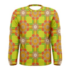 Floral Pattern Wallpaper Background Beautiful Colorful Men s Long Sleeve Tee by Simbadda