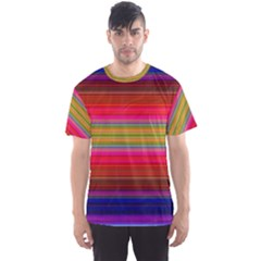 Fiestal Stripe Bright Colorful Neon Stripes Background Men s Sport Mesh Tee by Simbadda