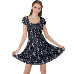 Black Pattern With Music Notes Treble Clef Cap Sleeve Dress by CoolDesigns