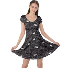 Black Beautiful Musical Pattern With Notes And Piano Keyboard Cap Sleeve Dress by CoolDesigns