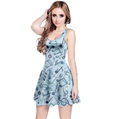 Blue Pattern With Music Notes Sleeveless Skater Dress by CoolDesigns