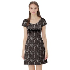 Black Pattern With Music Notes Treble Clef Short Sleeve Skater Dress by CoolDesigns