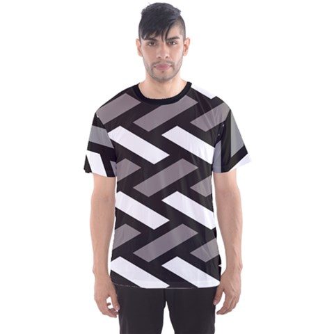 Black Wicker Texture Geometric Pattern Men s Sport Mesh Tee by CoolDesigns