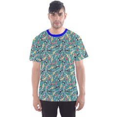 Blue Pattern Design With Colored Koi Fish Men s Sport Mesh Tee