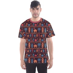 Brown African Tribal Pattern Ethnic Ornament With Different Men s Sport Mesh Tee
